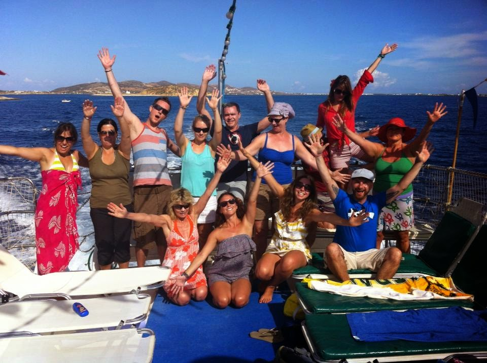 Paros yoga retreat on boat trip