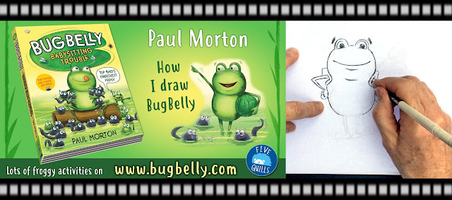 Title image for a video showing Paul Morton drawing his character Bug Belly the frog