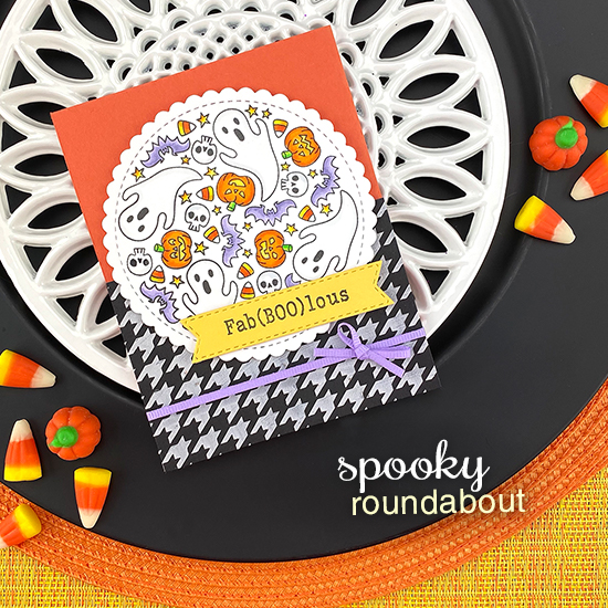 Fab(Boo)lous Halloween Card by Jennifer Jackson | Spooky Roundabout Stamp Set, Houndstooth Stencil and Banner Trio Die Set by Newton's Nook Designs #newtonsnook #handmade