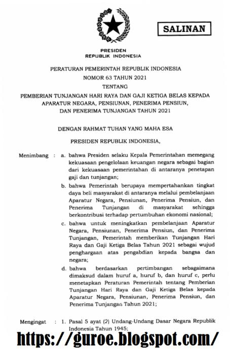 pp nomor 63 tahun 2021 tentang thr dan gaji ke-13 kepada asn (pns dan pppk), pensiunan, dan penerima tunjangan tahun 2021