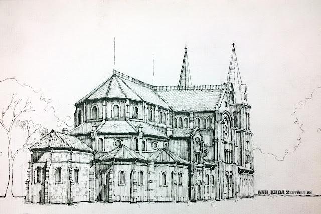 kí họa phong cảnh, kí họa của sinh viên kiến trúc, diễn họa nhà thờ đức bà
