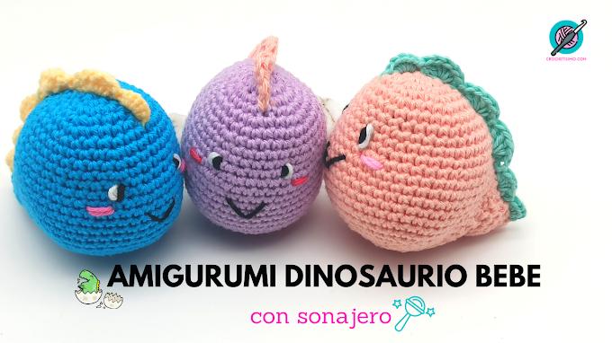 Como hacer Amigurumi Dinosaurio bebe con sonajero | How to make Amigurumi Dinosaur baby with rattle
