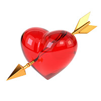 Golden arrow piercing the heart