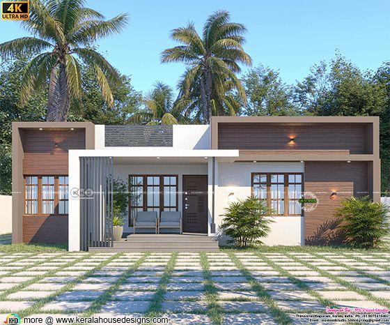 Box model one floor Kerala house rendering