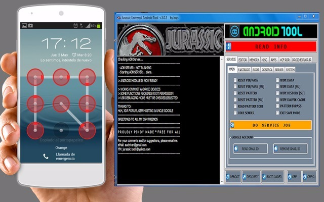 Jurassic UniAndroid, Sans perdre vos données, Super Logiciel, Supprimer schémas Oublier, USB Debuging