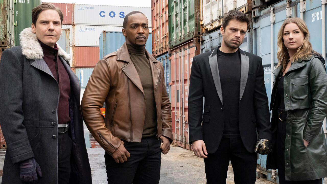 Sam, Bucky, Zemo y Sahron Carter en The Falcon and The Winter Soldier