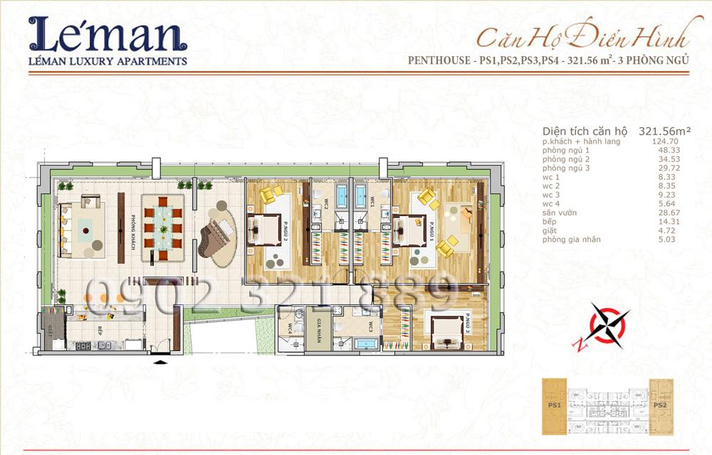 Mặt bằng căn hộ Leman C T Plaza Penthouse 321.56m2