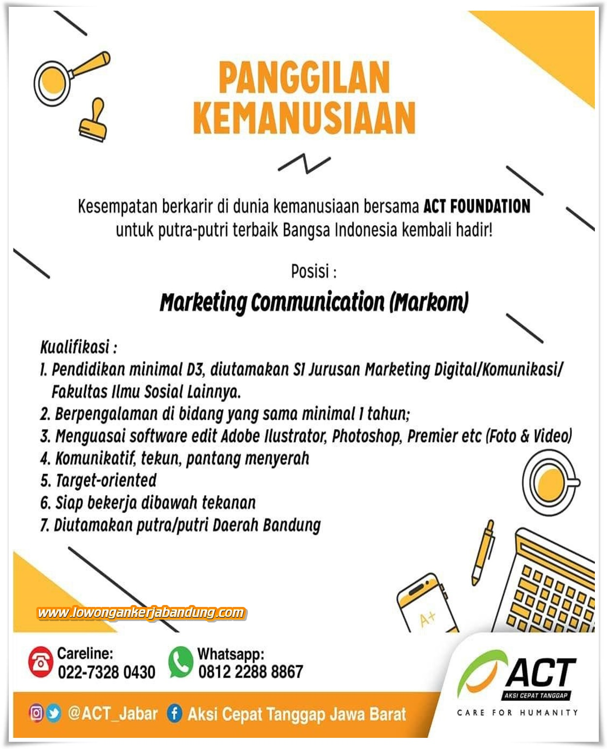 Loker Bandung Marketing Communication ACT