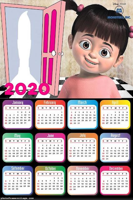 Monsters Inc: Calendario 2020 para Imprimir Gratis.