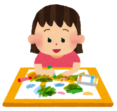 お絵描きをしている女の子のイラスト