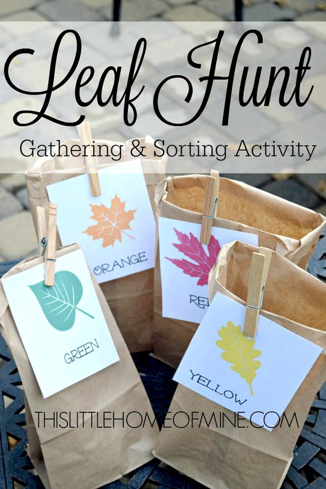 brown paper bags with leaf tags for the kids to collect Fall leaves.