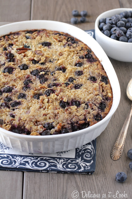 Low-FODMAP Blueberry Oat & Quinoa Breakfast Bake  /  Delicious as it Looks
