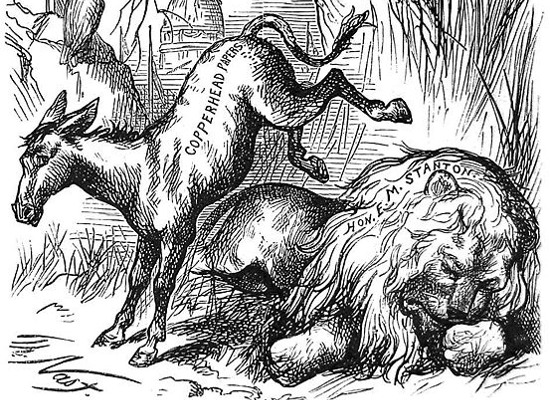 "Copperhead Democratic donkey cartoon in ""Harper's Weekly"" by Thomas Nast (January 19, 1870)"
