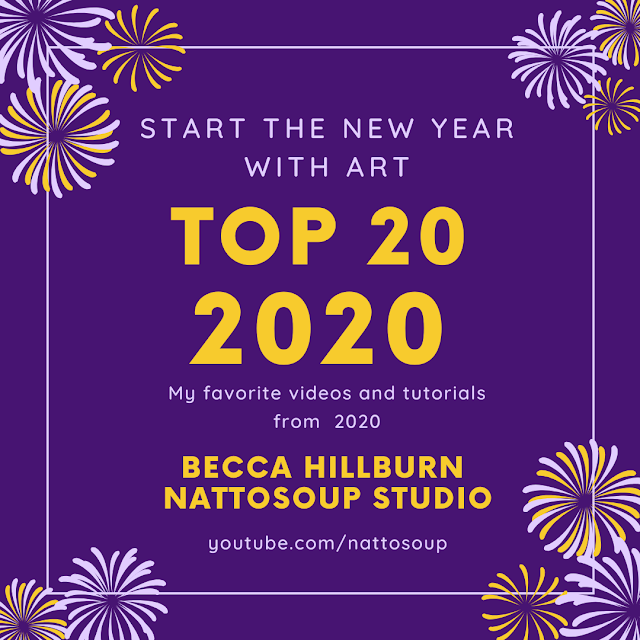 Graphic to promote the top 20 art supply videos of 2020