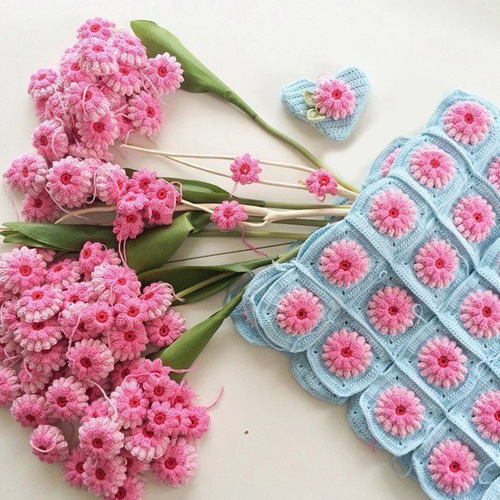 Wonderful Crochet Flower Granny Squares - Free Diagram