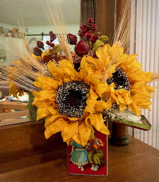 Droste Tin Sunflower Arrangement by Thistle Thicket Studio. www.thistlethicketstudio.com
