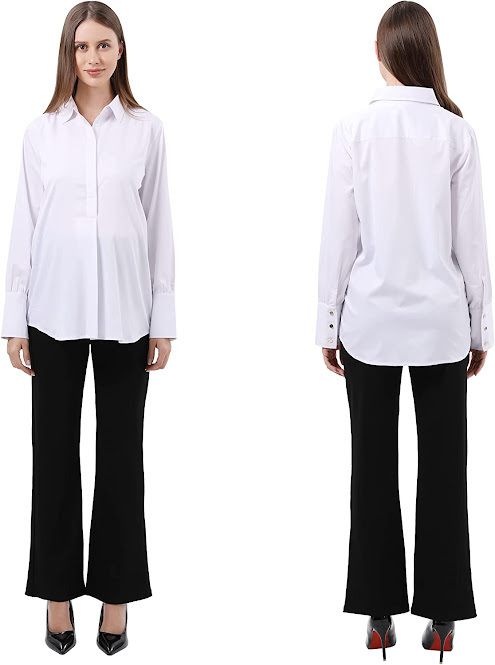 Button Down Collared Shirts Blouses for Work