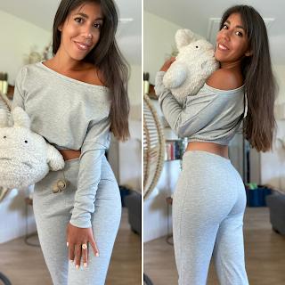 femme luxe finery épaule dénudée legging gris clair