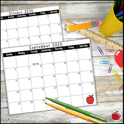 2020 to 2021 school year calendar image. Free from Terri's Teaching Treasures.