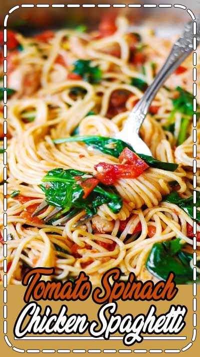 Tomato Basil & Spinach Chicken Spaghetti – healthy, light, Mediterranean style dinner.