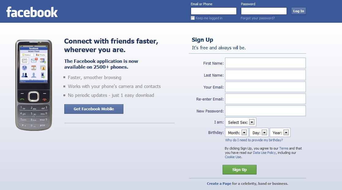 Facebook login home page full site faceboo