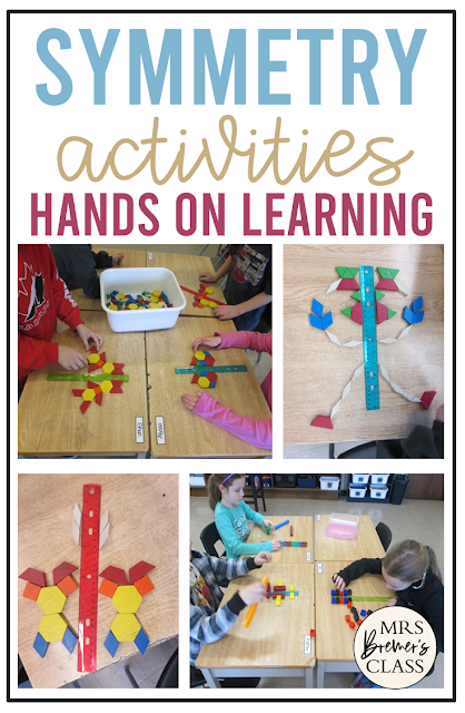 Symmetry math activities and ideas for hands on learning and math practice in First Grade and Second Grade