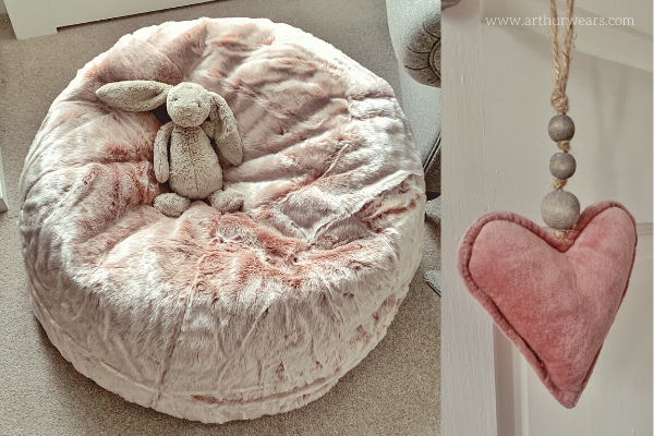 Grey Jellycat Rabbit on Dusky blush rose pink faux fur beanbag and fabric pink heart
