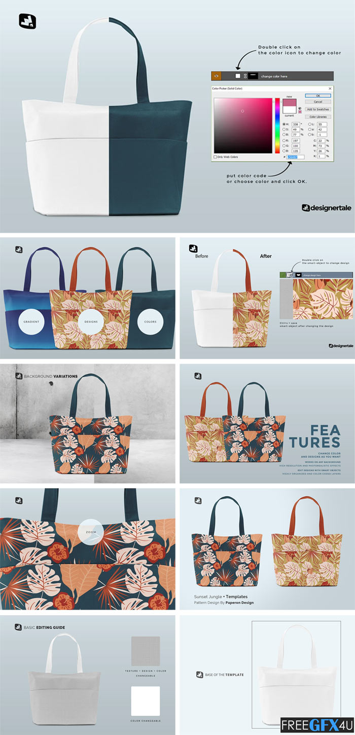 Frontview Fabric Shopping Bag Mockup