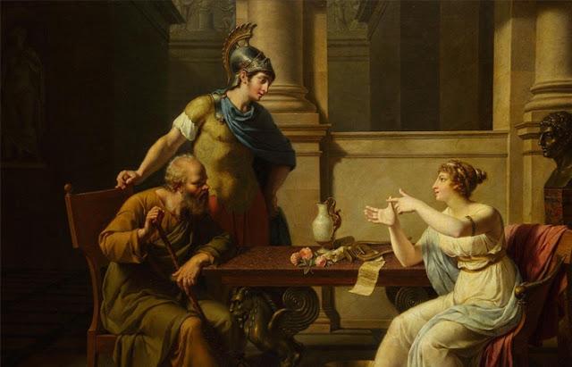 """Nicolas-André Monciot """"Sócrates em Aspasia"""""""