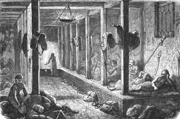 Çin'deki Kang yatakları, sıcak tutmak için ısıtılan tuğla ve kilden oluşuyordu.