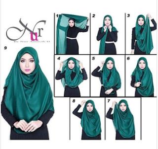 Tutorial Hijab Dengan Jilbab Pashmina Besar Bahan Kaos, Sifon, dll Style Syari Terbaru Menutup Dada dan Belakang Panjang yang Simple Casual ala Hijaber