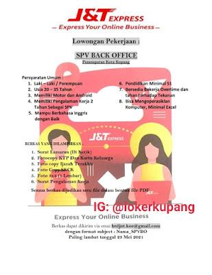 Lowongan Kerja J&T Express Kupang Sebagai SPV Back Office