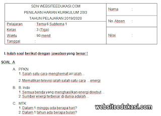 Soal PH Kelas 3 Tema 6 Kurikulum 2013 Tahun 2019/2020