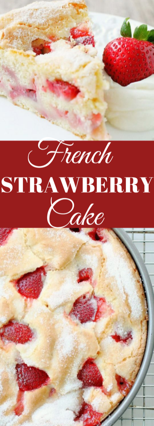 FRENCH STRAWBERRY CAKE #cake #desserts #strawberry #brownies #bars