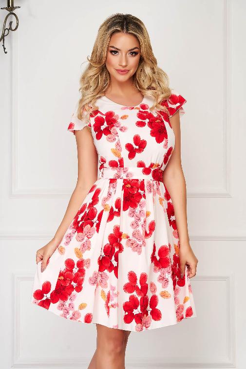 Rochie alba eleganta de zi in clos din material neelastic cu imprimeu floral rosu