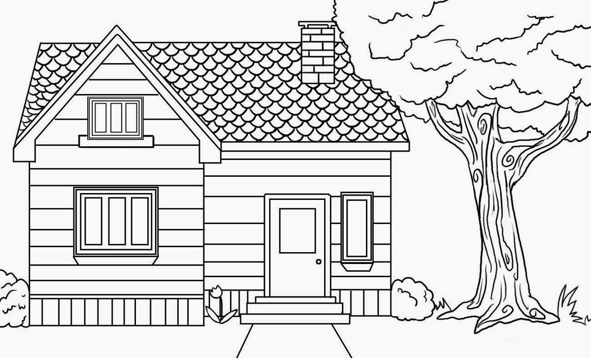 Colour Drawing Free Wallpaper: Big House Coloring Drawing