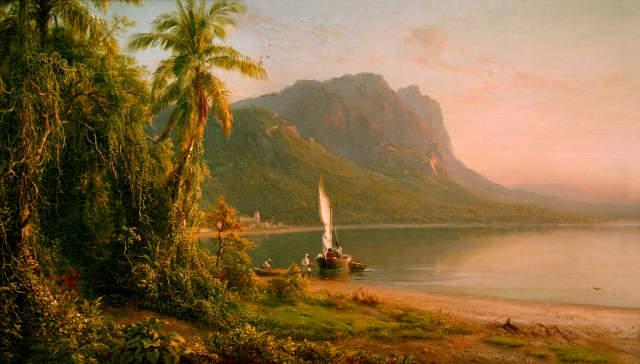 art, painting,Hudson River School, Frederick Edwin Church, Jamaica, tropics, palm tree,beach, jungle, rainforest, sailboat, village, beach