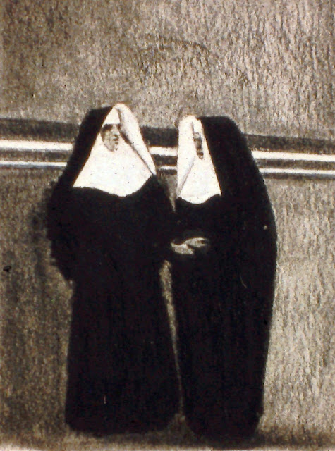 Elvis and Buster Keaton as Nuns, c. 2001 Charcoal and Conte on Paper By F. Lennox Campello