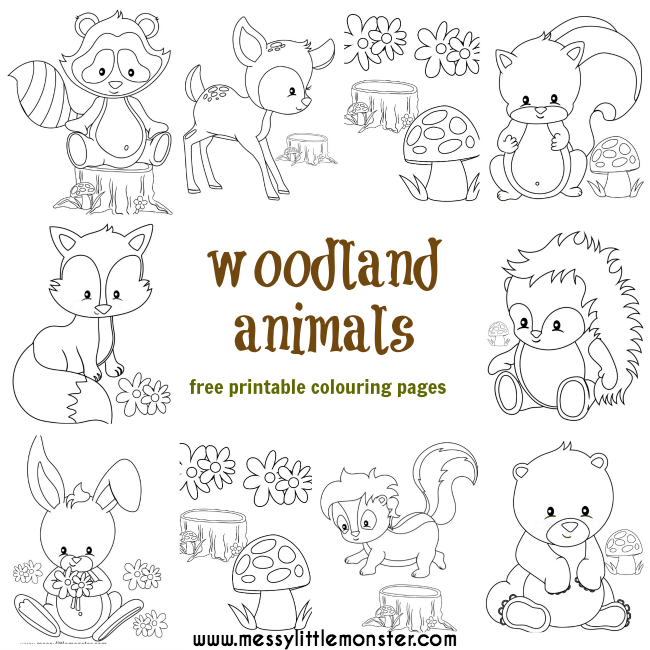 graphic relating to Free Printable Woodland Animal Templates named Woodland Animal Colouring Webpages - Messy Tiny Monster