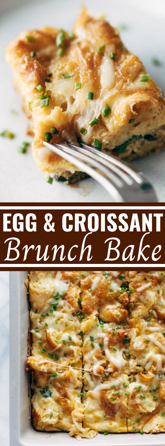 Egg and Croissant Brunch Bake #lunch #breakfast #casserole #easy #recipes