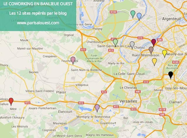 Carte du coworking en banlieue ouest de Paris