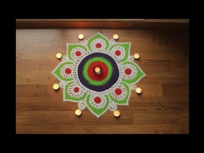 SIMPLE AND SMALL RANGOLI WITH DIYA