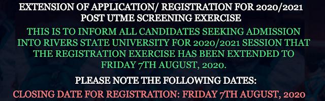 RSUST Post-UTME Screening Form 2020/2021 [EXTENSION NOTICE]