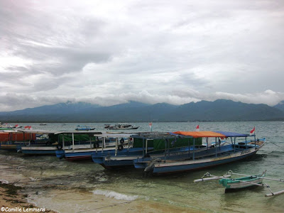 Windy and cloudy morning on Gili Air, Indonesia