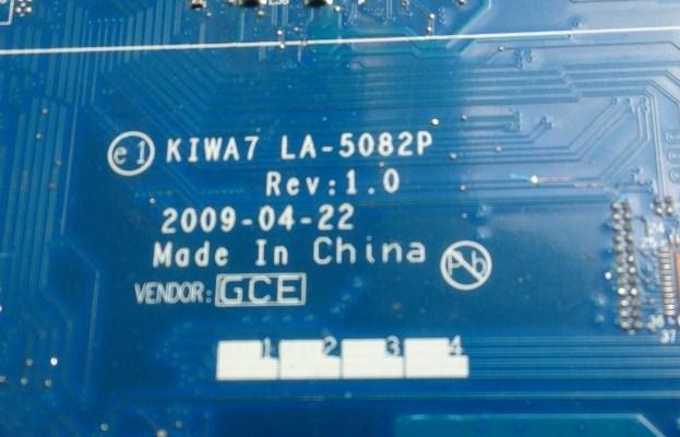 LA-5082P Rev 1.0 KIWA7 IBM Lenovo B550 Bios Bin