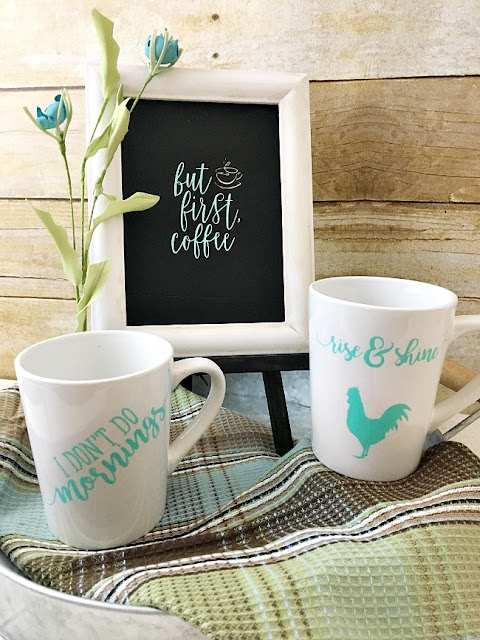 Vintage Paint and more... Rise and shine transfer used on porcelain coffee mugs
