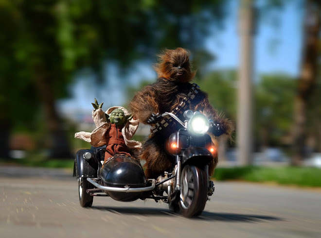 Yoda and Chewie riding in a sidecar - Star Wars - PlasticActionJax - Jax Navarro