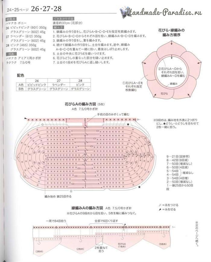 Схемы вязания подушки-сидушки «Роза» (1)