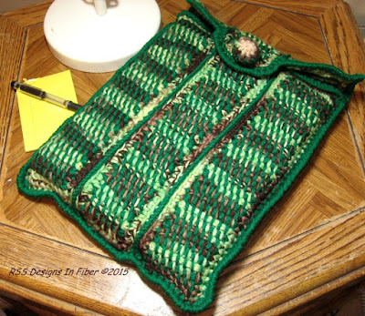 Earthy Browns - Tans - Greens Laptop Sleeve - Handmade Crochet By Ruth Sandra Sperling at RSS Designs In Fiber