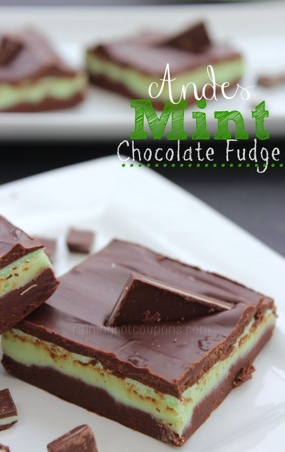 One of my favorite things about going to Olive Garden is that I don't need to order dessert because I know I have something awesome coming instead…those chocolatey, minty and delicious Andes Mints!! That's why I am so excited about this next recipe and if you love Andes mints then I highly recommend making this easy and quick Andes Mint Chocolate fudge! Enjoy…